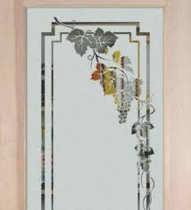 Glass Design For Kitchen Glass Cabinet Designs Etched Glass Vineyard Grapes Cascade