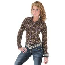 country western clothing for women black long sleeve paisley