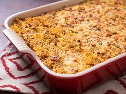 crispy mashed potato casserole with bacon cheese and scallions