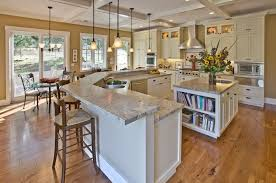 kitchen island with granite top and breakfast bar traditional kitchen with diy box beam ceiling breakfast nook