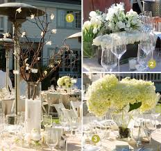Manzanita Centerpieces White And Cream Floral Centerpieces Accented With Green And