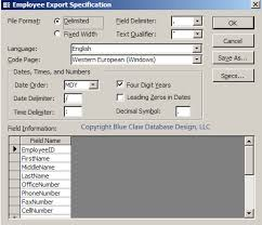 export specification in microsoft access