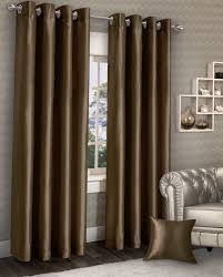 Chocolate Curtains Eyelet Stylish Ring Top Eyelet Lined Curtains Plain Faux Chocolate Brown