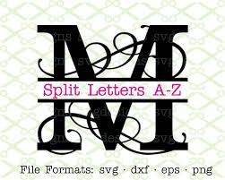 letter monogram flourish split letter monogram svg dxf eps png split