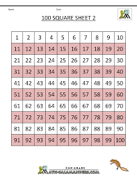 number squares worksheets