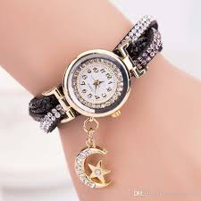 bracelet watches online images Casual ladies leather watch moon star pendant bracelet watches jpg