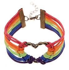 heart leather bracelet images Gay and lesbian rainbow infinity heart streamer bracelet leather jpg