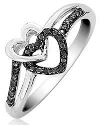 black diamond promise ring sterling silver black diamond accented promise heart ring 12 99