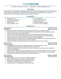 Resume Objective For It Job by Best Security Officer Resume Example Livecareer