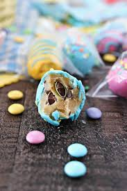 cookie dough easter eggs with m u0026m u0027s