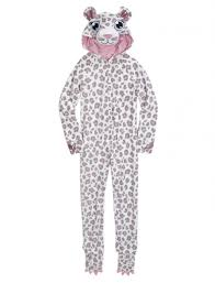 snow leopard fleece pajama with removable footies pjs