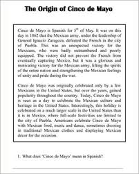 the origin of cinco de mayo u2013 cinco de mayo reading comprehension