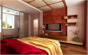 contemporary master bedroom ideas with wall mount tv over floating