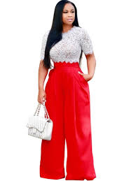 round collar lace hollow wide legs patchwork women u0027s pants suit