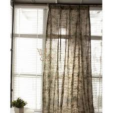 Brown Linen Curtains Country Style Printed Leaf Pattern Khaki Linen Cotton Shabby Chic