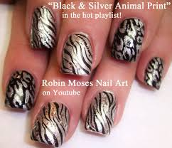 nail art black and silver animal print nails nail design