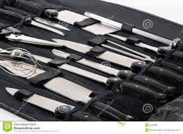 Set Of Kitchen Knives Professional Chef U0027s Knife Set In Black Case Stock Photos Image