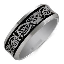 celtic rings with images Men 39 s celtic ring in gray tungsten jpg