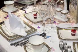 set table to dinner elegant table set for a wedding dinner stock photo picture and