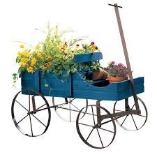 garden wagon planter outdoor decor flower wood wheelbarrow home