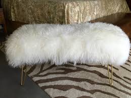 genuine mongolian ivory fur bench with hairpin legs
