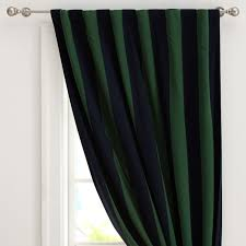 Navy And Green Curtains Rugby Stripe Blackout Drape Pbteen