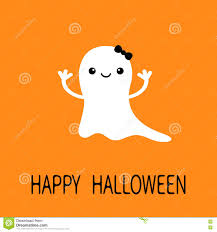 funny baby ghost with black bow smiling face happy