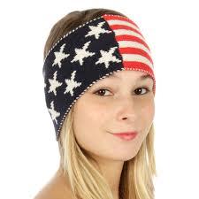 American Flag Beanie T33 American Flag Knit Headband Marlin Red