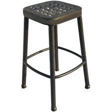 cast aluminum outdoor patio round square bar stool antique bronze