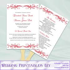 diy wedding ceremony program fans diy wedding fan programs template by weddingprintablesdiy on etsy