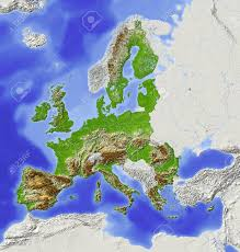 Map Of The European Union by European Union Shaded Relief Map With Major Urban Areas