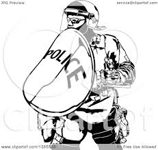 clipart of a black and white police officer in protective gear