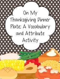 on my thanksgiving dinner plate a vocabulary and attribute