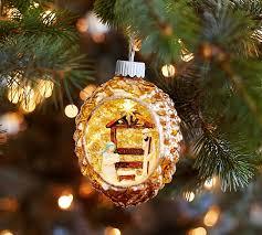 lit nativity in mercury ornament pottery barn
