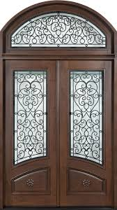 elegant mahogany and glass arch double front door home design