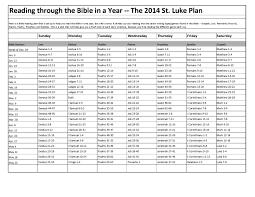 read the plan read through the bible in a year the 2014 st luke plan st luke
