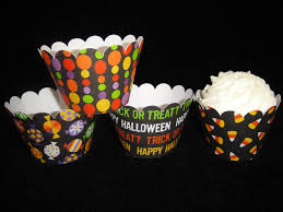 halloween cupcake wrappers halloween words and candy cupcake