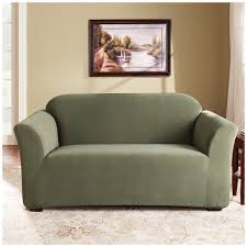 Carpet Tiles For Living Room by Sure Fit Stretch Loveseat Slipcover With Dark Green Color In The