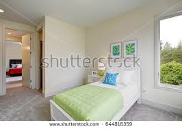 Blue And Green Bedroom Luxury Bedroom Interior Rich Furniture Scenic Stock Photo