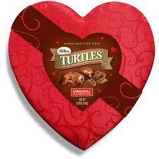 candy valentines turtles in candy candy satin heart box 8 75 oz