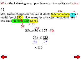 29a word problems with two step inequalities you