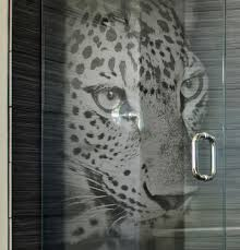 patterned glass shower doors custom etched glass shower door with u0027panther u0027 3d laser design by