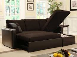 comfy l shaped small futon couch from dark brown leather and