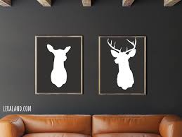 mounted deer head 11x14 or 8x10 silhouette doe and buck stag