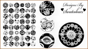 black and white floral ornaments digital collage 040 1 inch circle