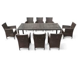 Rattan Garden Furniture White Rattan Garden Furniture Set Verdi Grande Table 220 Cm With 8 Chairs