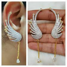 peacock design earrings in gold designs gold jewellery peacock designs fully white