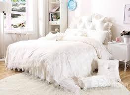 dreamy white lace edging princess style 4 piece cotton bedding set