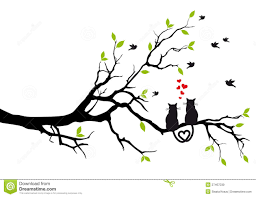 cats in love on tree vector royalty free stock images image