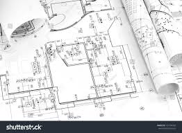 architecture plan rolls blueprints stock photo 131734769